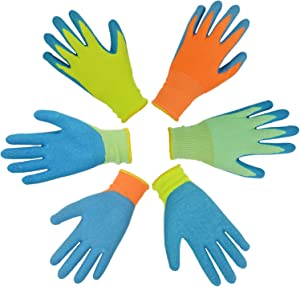 GLOSAV 3 Pairs Kids Gardening Gloves for Yard Work, Children Latex Garden Gloves for Age 2-12 Toddler, Girls, Boys (Size 4 for 7, 8 Year Old)
