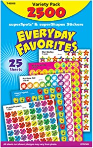 Trend Enterprises SuperSpots & SuperShapes Everyday Favorites Stickers, Variety Pack, Set of 2500, Multi, T-46916