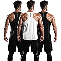 DRSKIN Men's 3 Pack Dry Fit Y-Back Muscle Tank Tops Mesh Sleeveless Gym Bodybuilding Training Athletic Workout Cool…