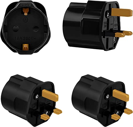 Incutex 2X adaptadores de Viaje UK, GB, Inglaterra Schuko, 2 Patas ...