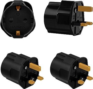 Incutex 2X adaptadores de Viaje UK, GB, Inglaterra Schuko, 2 Patas Europa hacia 3 Patas RU, Negro: Amazon.es: Electrónica
