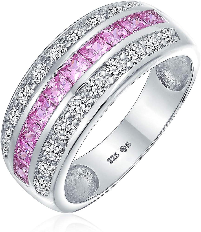 Art Deco rosa azul claro AAA cúbico Zirconia media eternidad conjunto de canales princesa corte CZ cúpula 3 fila de declaración ancha anillo de boda de la banda .925 plata esterlina 8MM