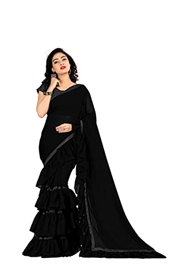 91d67e08dc FKART Georgette Saree (RUFFLE_Black_Free Size): Amazon.in: Clothing ...