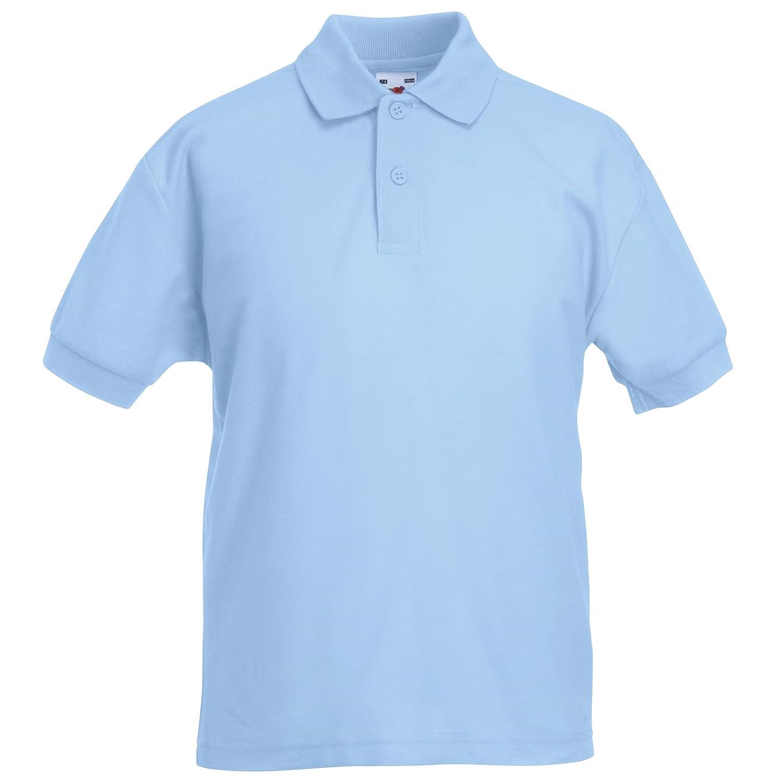Kids Fruit of The Loom Short Sleeve 65/35 Pique Polo T Shirt-12 tshirt Colours BTC