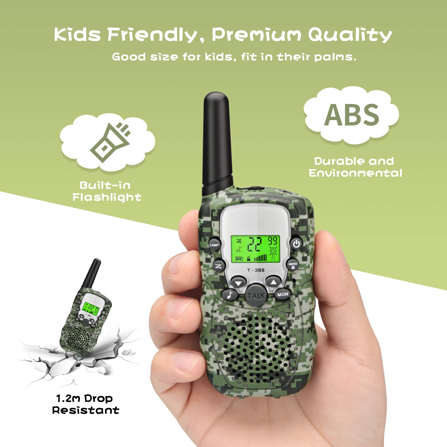 Zhenhao Walkie Talkies for Kids 3 Packs - 22 Channels Two Way Radio 3 Miles Long Range Outdoor Toys with 3 Earpieces and 3 Lanyards for Boys Girls by Zhenhao (Image #2)