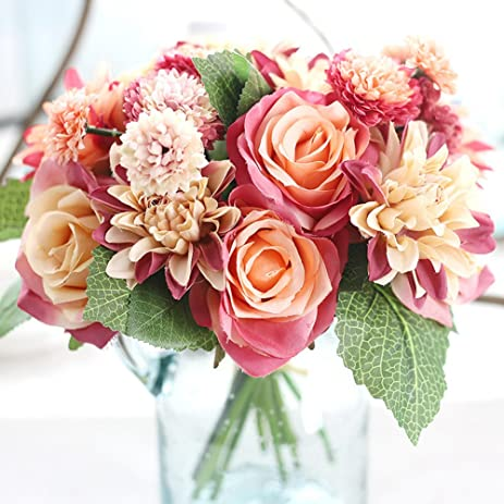 Meiliy 1 Bunch 8 Pcs Artificial Rose Dahlia Daisy Flower Bouquet Bride Bridesmaid Holding Flowers For