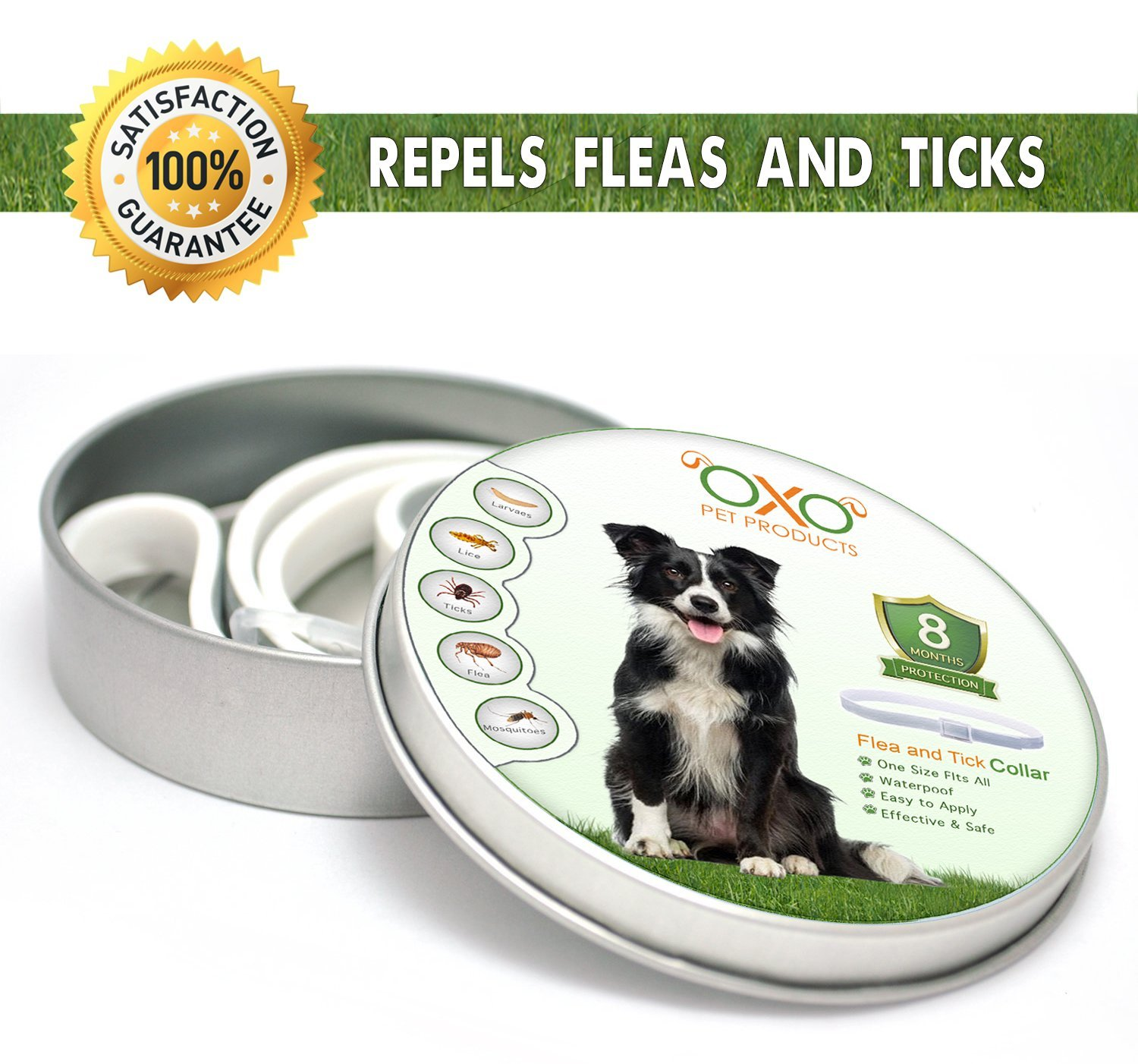 OXO PET PRODUCTS Tick and Flea Collar For Dogs. Natural Repellent With Essential Oils.''8 Months Protection''.BEST Natural Pest Solution For Dogs Of All Sizes and Ages. Waterproof, 25''