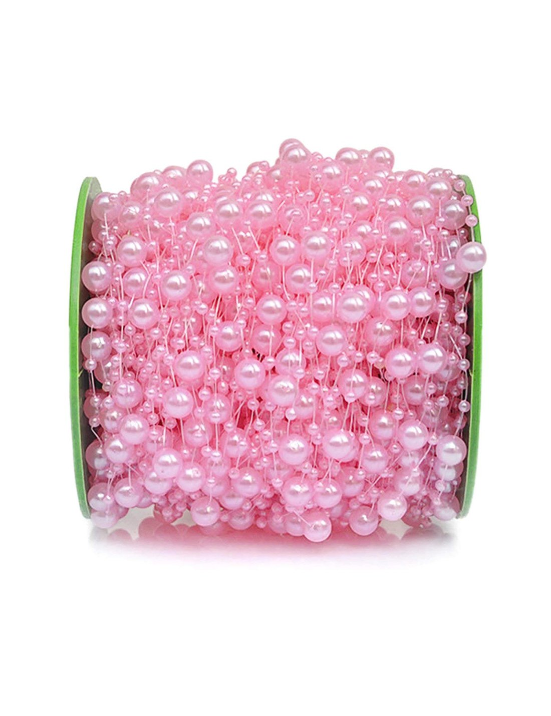 DomeStar Pink Pearl Garland, 200 Feet Pearl Strands Bead Garland Pearl Beaded Trim, Decorative Pearls on String