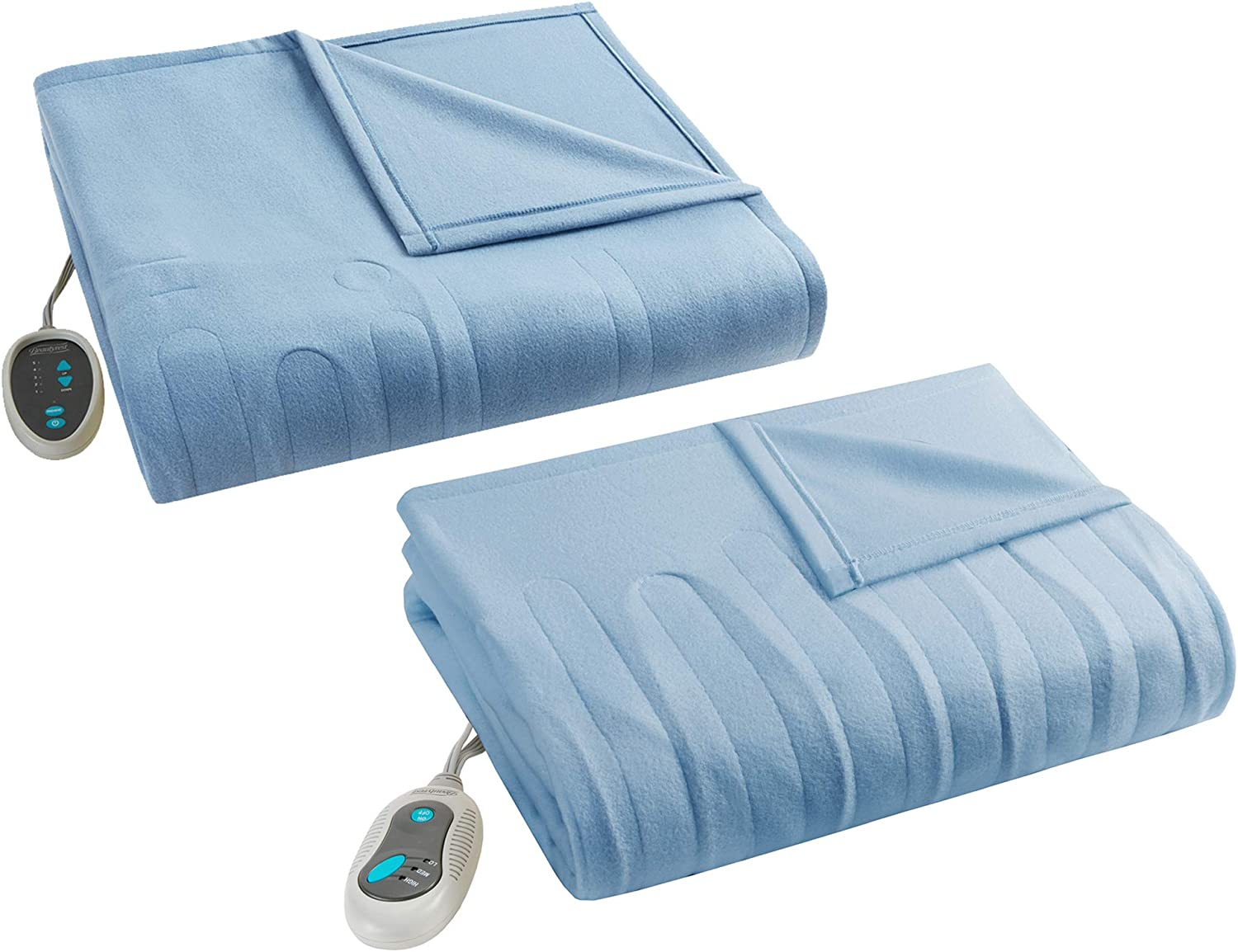 """Beautyrest - Heated Fleece Blanket and Throw Combo Set - Blue - Twin Size Blanket 62"""" x 84"""" + Throw 50"""" x 60"""" - with 2 Heat-Regulating Controllers"""