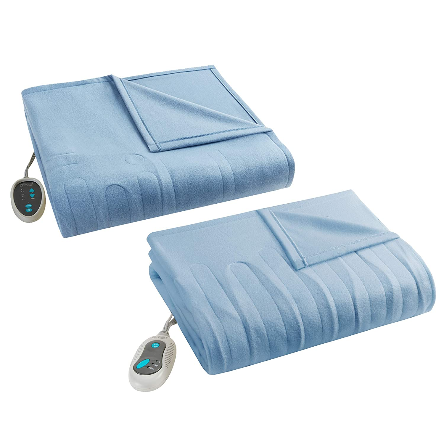 Beautyrest Fleece 2 Piece Electric Blanket Combo Ultra Warm and Soft Heated Throws Bedding Set with Auto Shutoff, Full, Blue