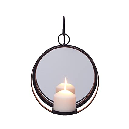 9870d2e935fa Amazon.com  Danya B. Round Wrought Iron Pillar Candle Sconce with ...