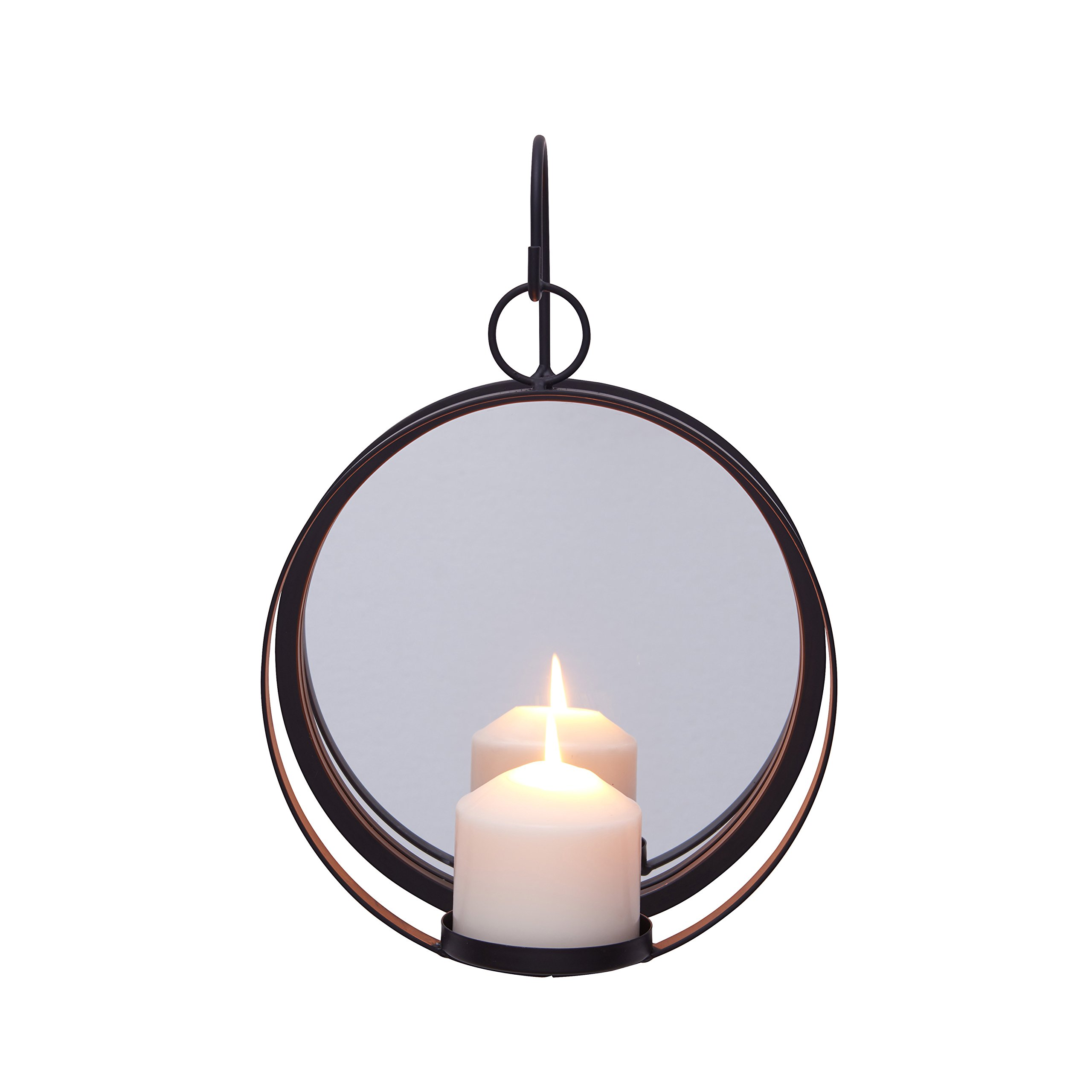Danya B. Round Wrought Iron Pillar Candle Sconce with Mirror - A Decorative Rustic Metal Hanging Wall Candleholder