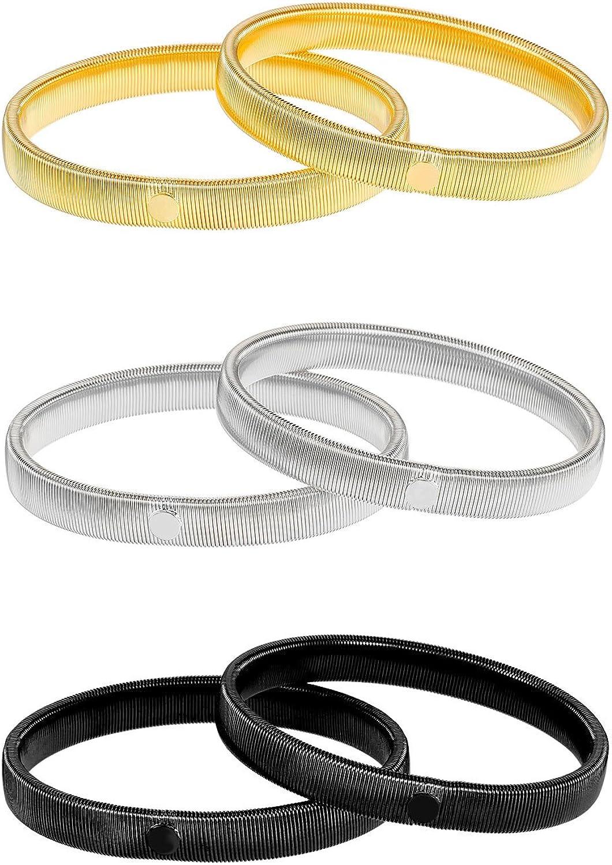 3 Pares de Soporte de Manga de Camisa Antideslizante Brazelete de Metal de Estiramiento (Plateado, Dorado y Negro): Amazon.es: Ropa y accesorios