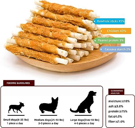 Jungle Calling Snacks Perros Palitos de Piel de Buey, FileteI de Pollo 300g, 30 Piezas