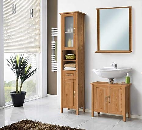 Galdem Lido Badmöbel-Set mit Spiegel Waschbeckenunterschrank Hochschrank  Seitenschrank Badezimmer Holz MDF honigfarben