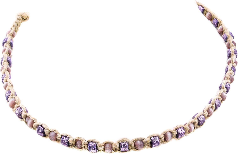BlueRica Hemp Choker Necklace with Purple Catseye and Fimo Glitter Beads