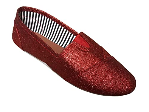 Womens Glittler Canvas Slip-on Shoes Red ...