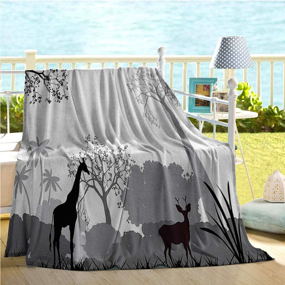 """Mademai Apartment Decor Collection Baby boy Blankets,Silhouette of Savannah with Giraffe Deer and Trees Wild African Safari Region Artprint,Quilt Full Size Grey White 50""""x60"""""""