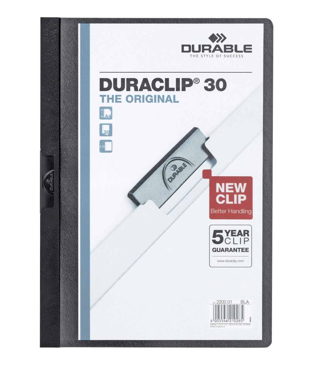 confezione da 25 pezzi cartellina con clip per archiviare documenti DURABLE 220003 Duraclip 30 f.to A4 rosso capacit/à 1-30 fogli