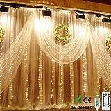 LEDイルミネーションライト USB給電式 クリスマス イルミネーション カーテンライト 妖精のライト 3M x3M 300 LEDライト8モードウィンドウ 新年 、お正月、 元旦、ウェディングパーティー、学園祭、誕生会、バレンタインデーの滝の灯具の文字列屋外屋内寝室ライトデコレーション(防水ランプ 暖かい白)