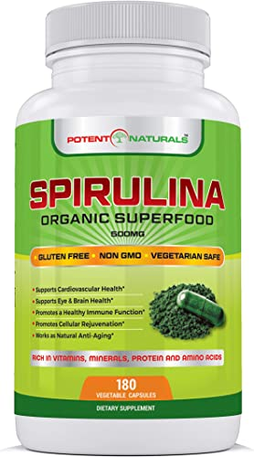 Potent Naturals Organic Spirulina 3000mg 180 Veggie Capsules Green Algae Superfood Dietary Supplement – Rich in Protein, Vitamins, Minerals, Amino Acids – Vegetarian Safe, Non GMO, Gluten Free
