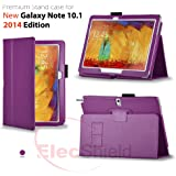 ElecShield Case for Samsung New Galaxy Note 10.1 2nd Tablet 2014 Edition Version Luxury Faux Leather Stand Case (Violet)