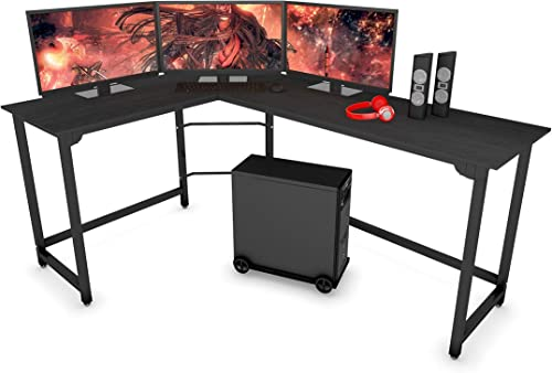 SZXKT L Shaped Desk Home Office Large Desk Panel Computer Desk Sturdy Computer Table Writing Desk Workstation Black
