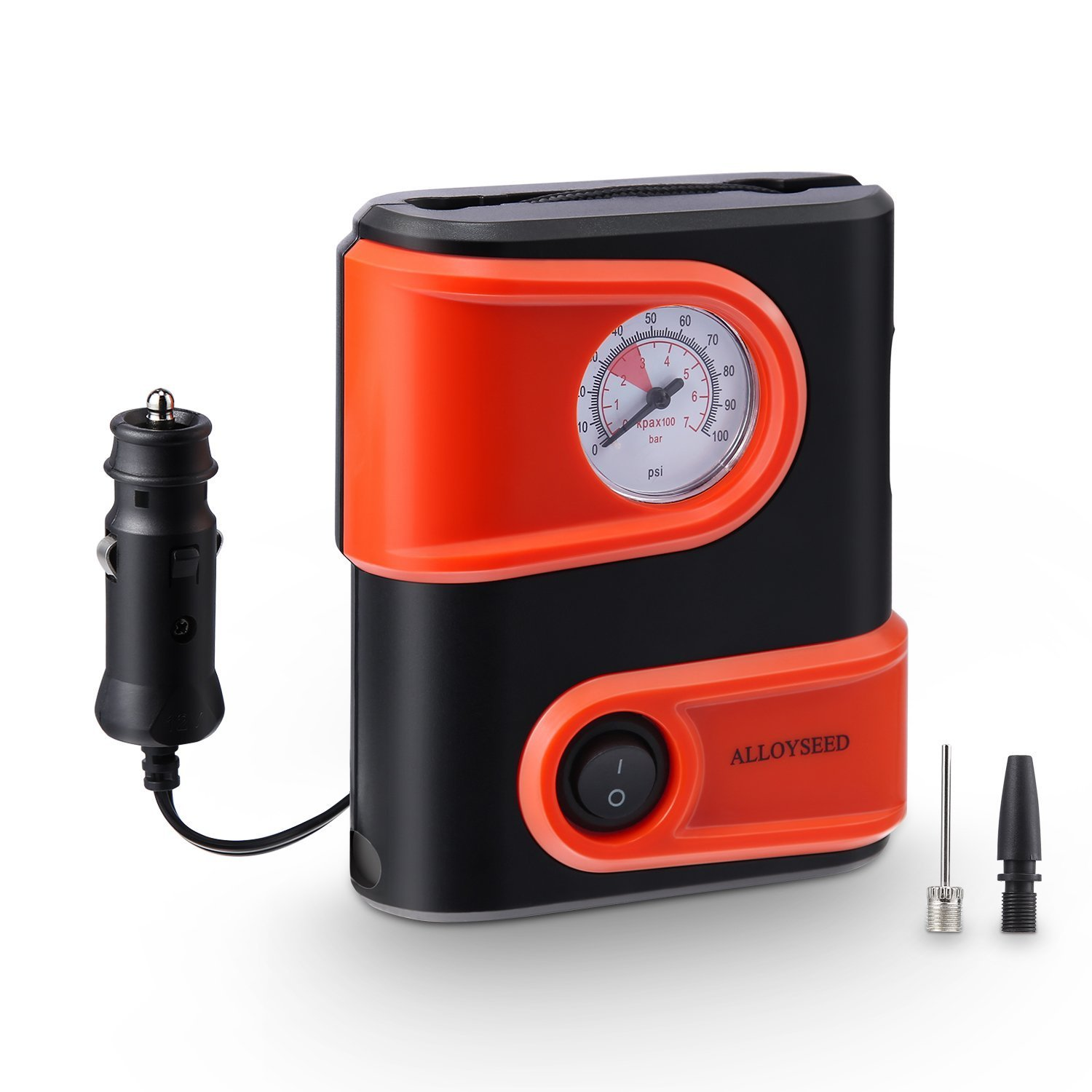 Alloyseed Portable Tire Inflator, Mini Air Compressor Pump with Built-in Gauge, 12V DC 100 PSI Tire Pump with Emergency Light for Car, Truck, Vehicle, Bicycle RV and Inflatables (Type1)
