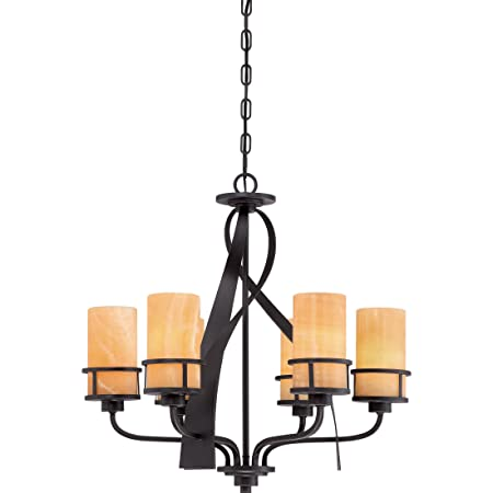 Quoizel KY5506IB Kyle Wrought Iron Faux Alabaster Chandelier, 6-Light, 600 Watts, Imperial Bronze 23 H x 23 W