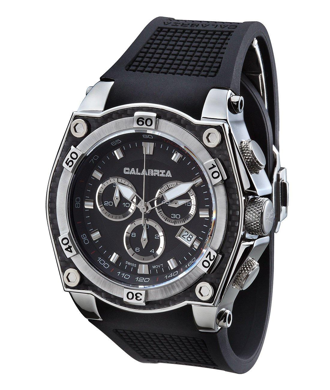 CALABRIA - AZZARDO - Classic Black Chronograph Men Watch with Carbon Fiber Bezel