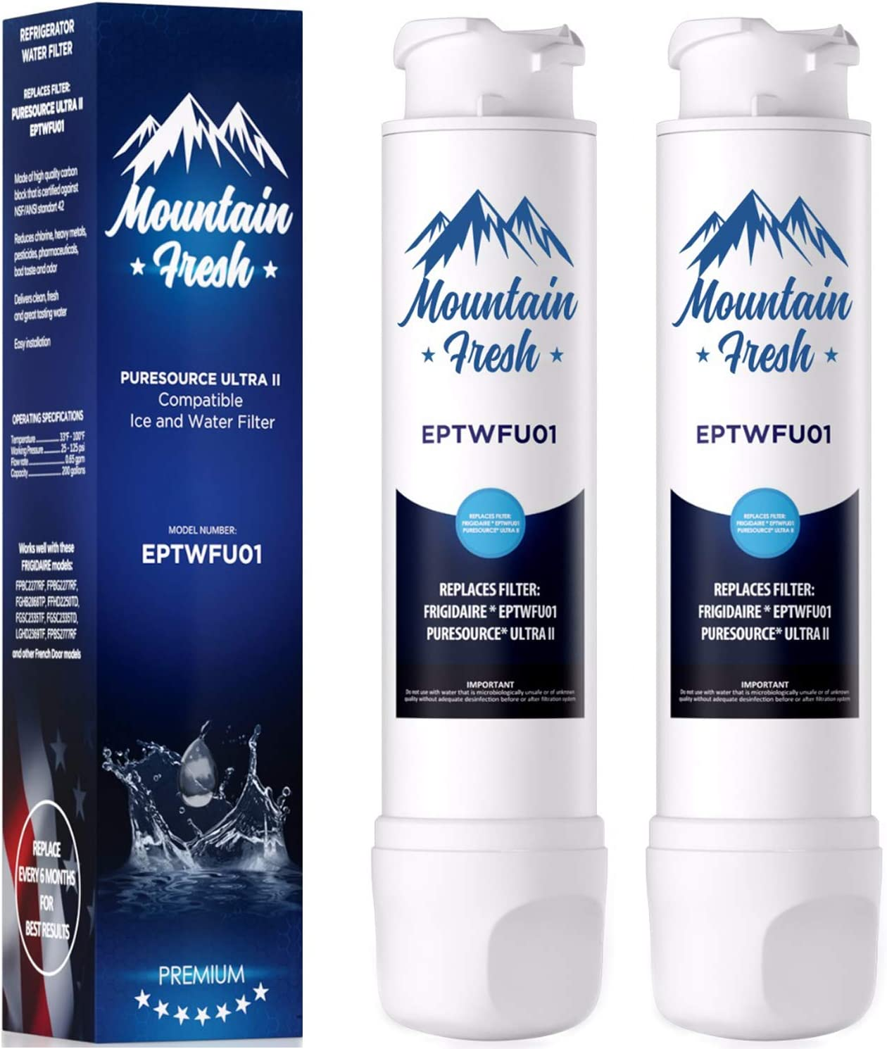 Premium Water Filter for French Door Models (2 Pack)