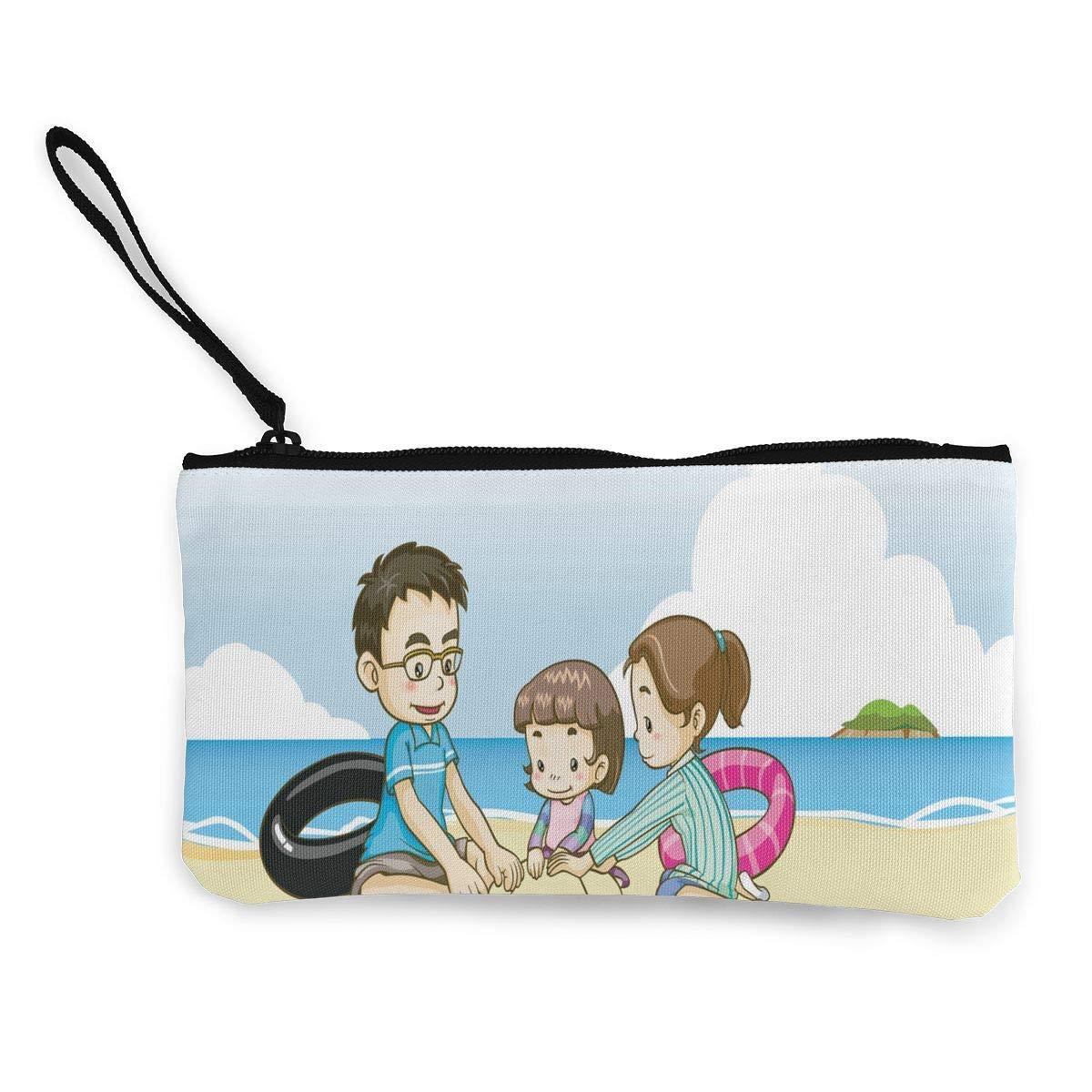 Coin Purse Kids Playing with Sand at Beach Men Zip Canvas Wallet ChangeInspiring Case