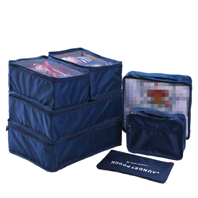 WSLCN Sac de Rangement Ensemble de 7 Pcs Organisateurs de Voyage Bagages Organiseur de Stockage Sacs Etanche Trousses de Toilette en Filet Cubes demballage Cabine Organisateur Valise Bleu Fonc/é