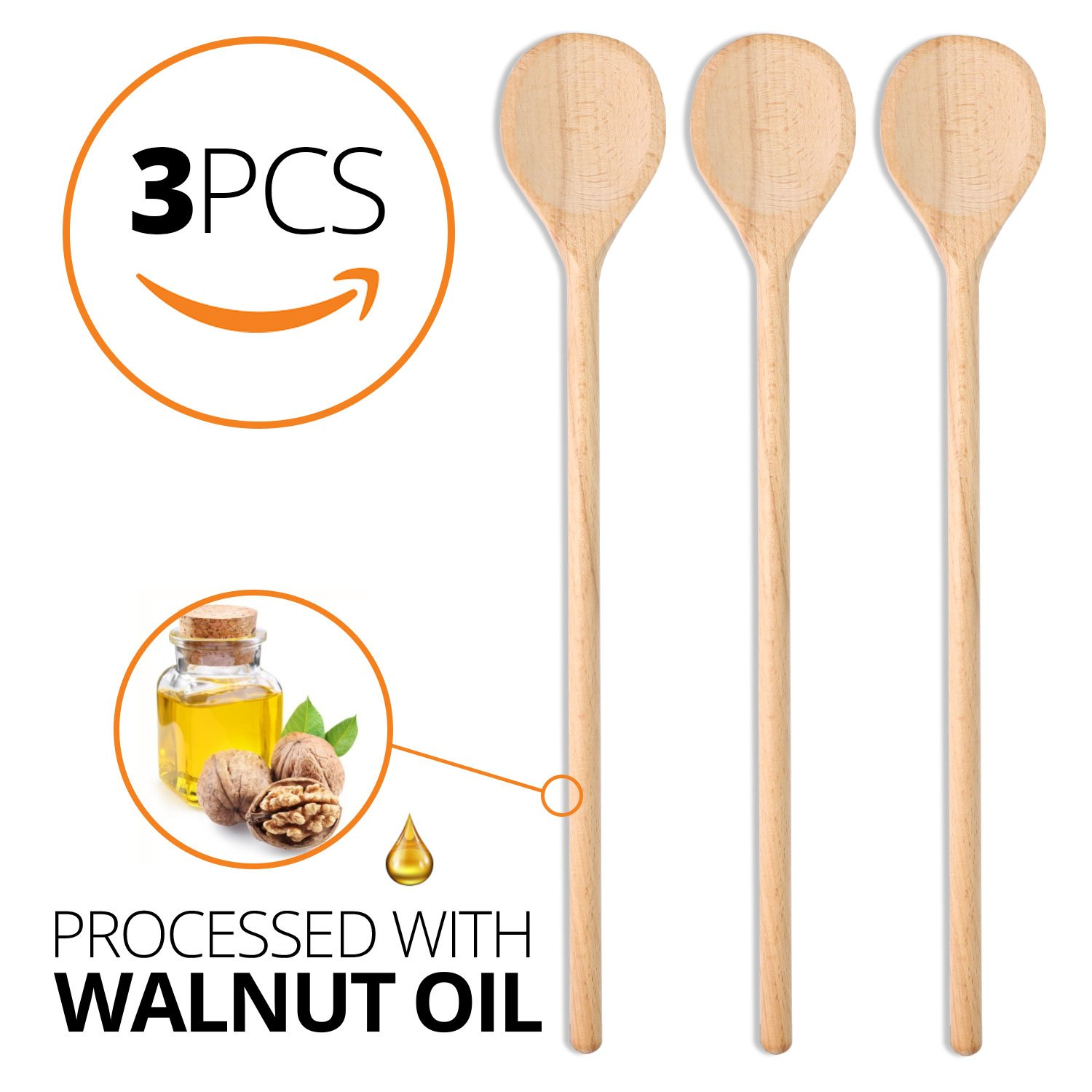 Wooden Spoons for Cooking - 3 pcs set, 15.7-Inch - Big Wooden Spoon Large for Mixing Baking Serving Wooden Utensils - Long Handle Wooden Spoon