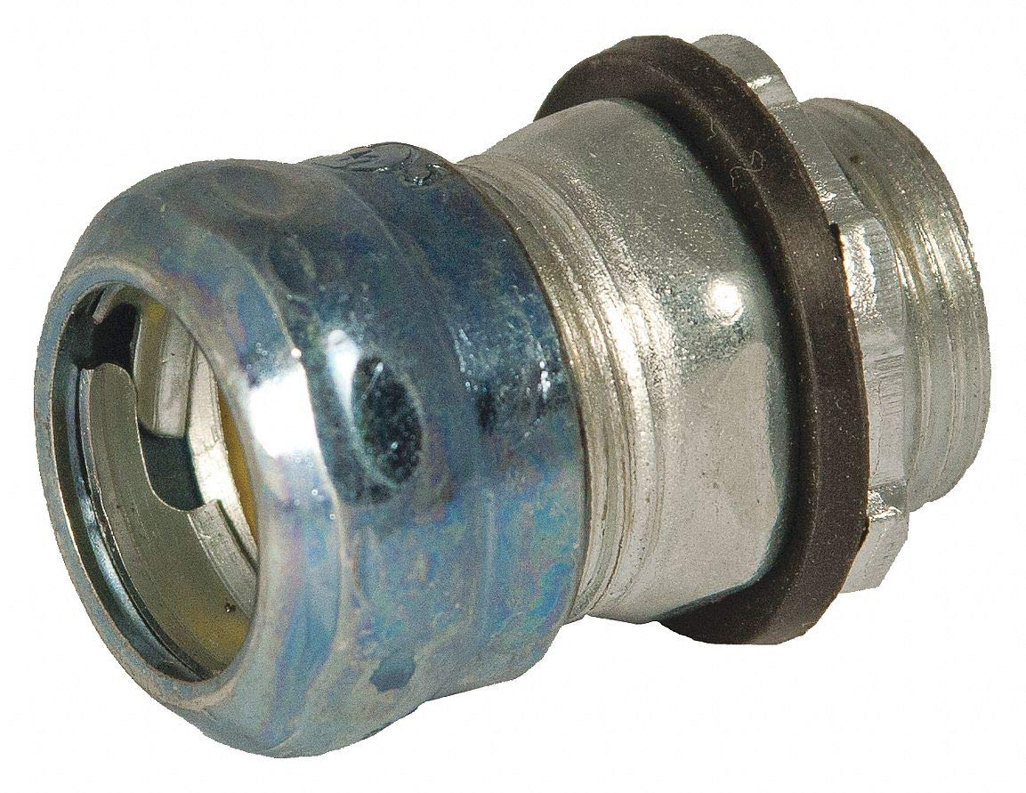 1/2'' EMT Compression Connector, Rain Tight, 1-37/64'' Overall Length, Pack of 10