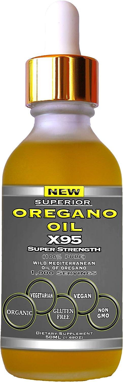 Oregano Oil Drops Super Strength - 12 Month Supply, Food Grade, Pure Undiluted Wild Mediterranean Oil of Oregano Extract, 1.69 oz (Large)