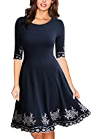 Miusol Women's Casual Scoop Neck Embroidered Half Sleeve Vintage Party Swing Dress