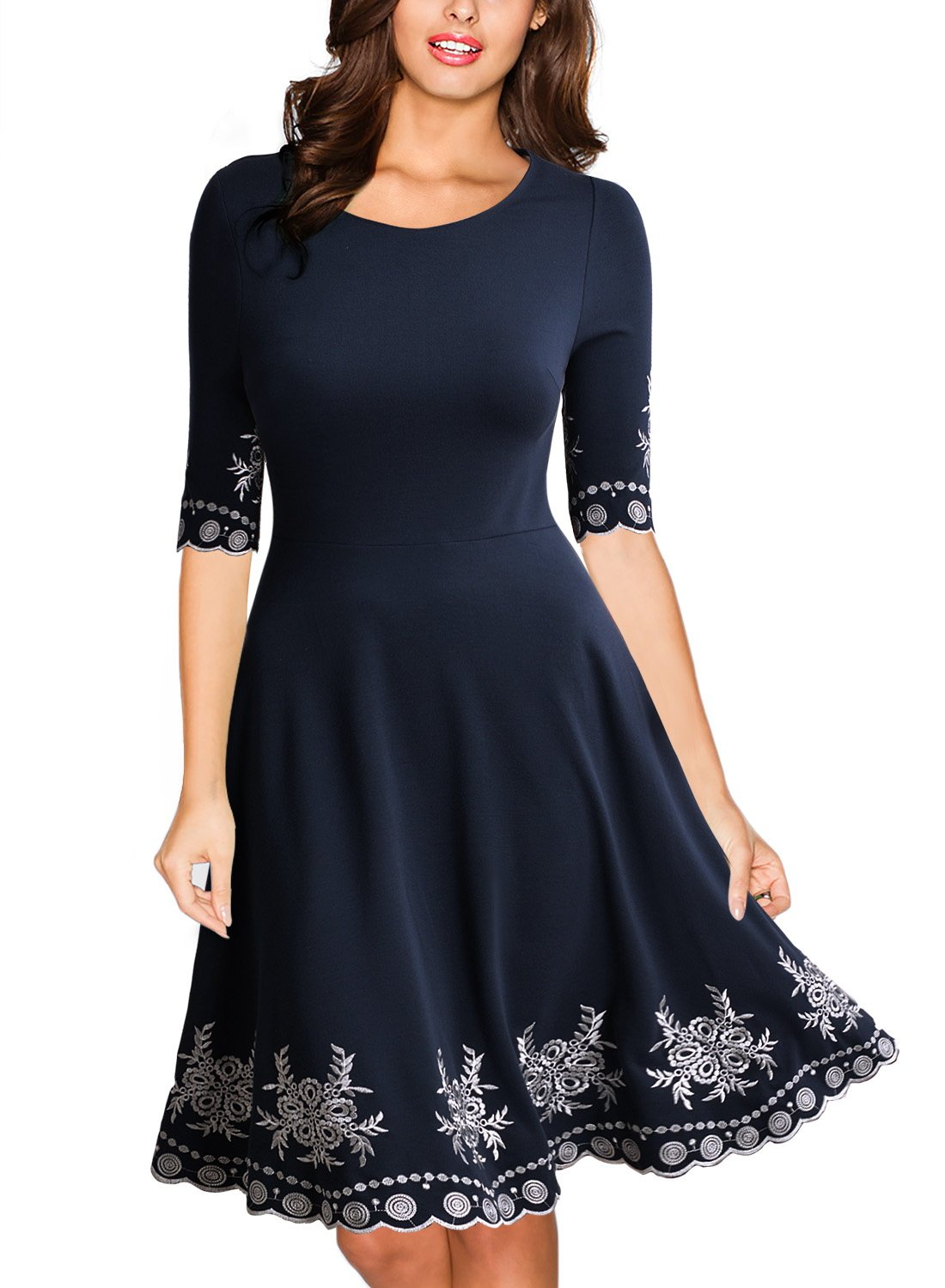 Miusol Women's Vintage Scoop Neck Embroidered Half Sleeve Casual Swing Dress,Navy Blue,Large