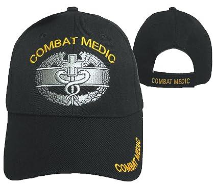 Amazon.com  Combat Medic Cap Black U.S. Army Embroidered Military ... dea84207007