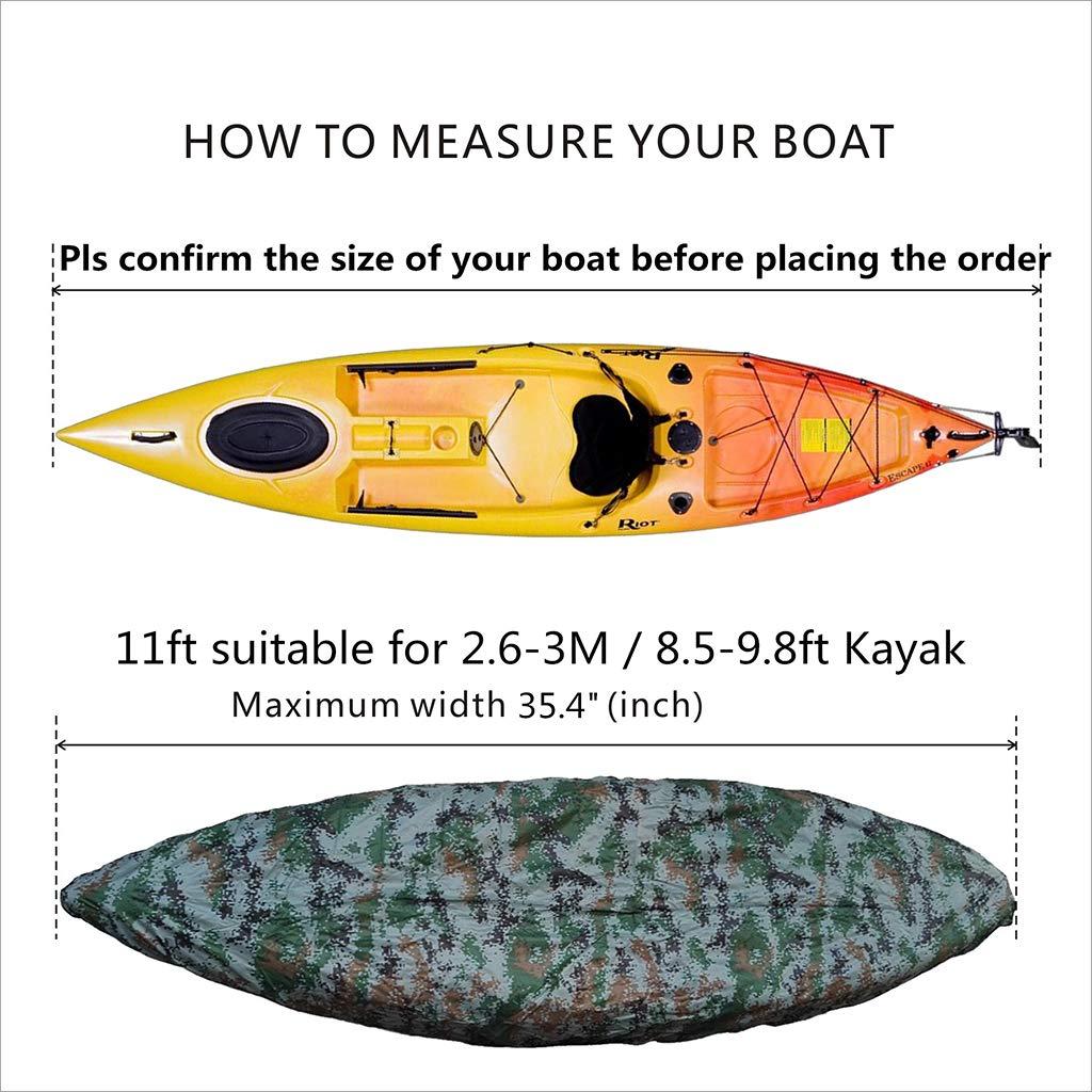 SM SunniMix Professional Kayak Canoe Cover Camouflage Waterproof UV Protection Sunblock Storage Dust Shield fit 8.5-9.8ft