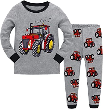 Summer Cotton Round Neck Short Sleeves Pjs Two-Piece T Shirts /& Pants Baby Childrens Nightwear Outfit Fansu Kids Boys Car Excavator Printing Pyjamas Set