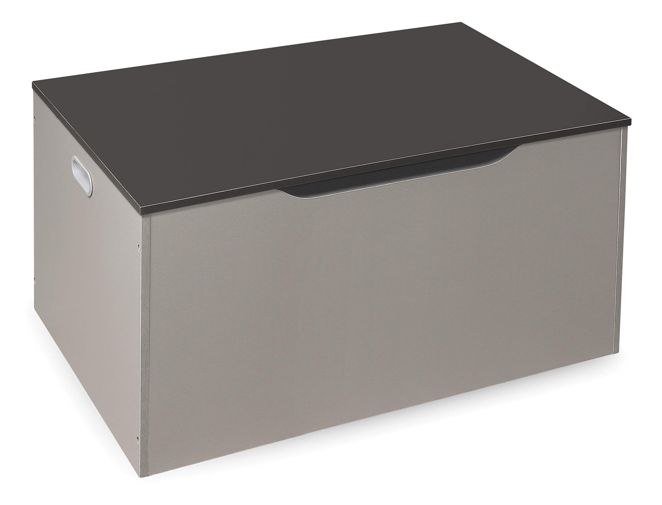 Badger Basket Bench Seat Toy and Storage Box with Lift Top and 2 Safety Hinges, Light Gray/Dark Gray
