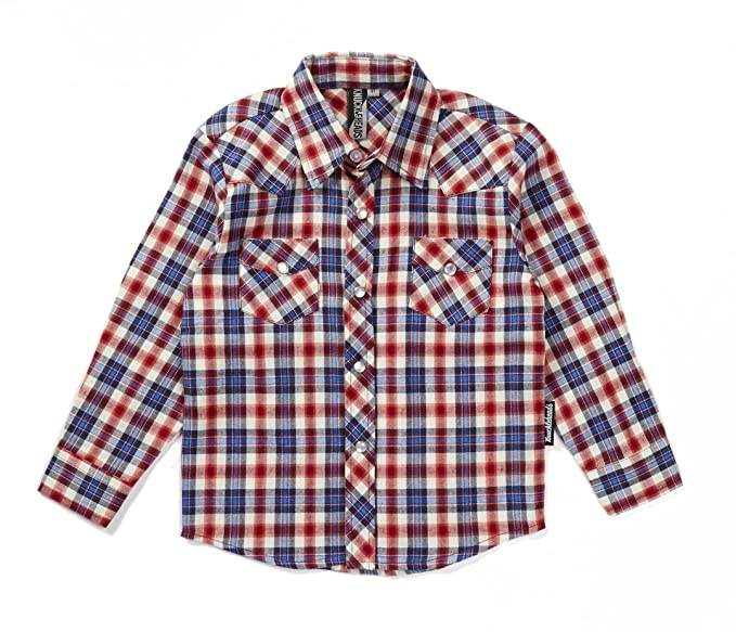 Kids 1950s Clothing & Costumes: Girls, Boys, Toddlers Knuckleheads Rockabilly Button Down Plaid Flannel Shirts $29.99 AT vintagedancer.com