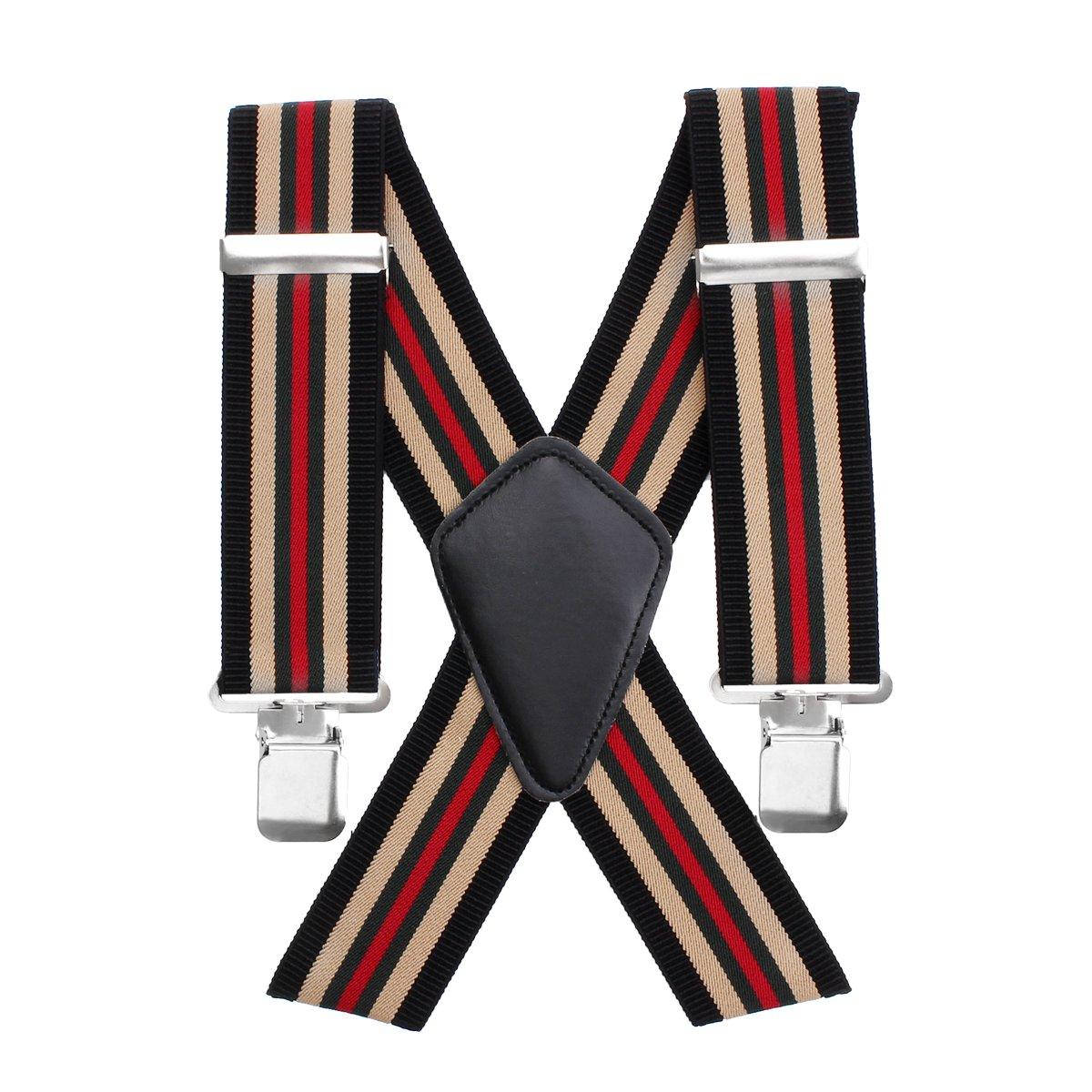 Réglable Hommes Bretelles Aulola 50 MM Rayé Élastique Hommes Bretelles Suspender X Forme avec Clips Métalliques