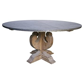 walker industrial loft zinc top wood base round dining table