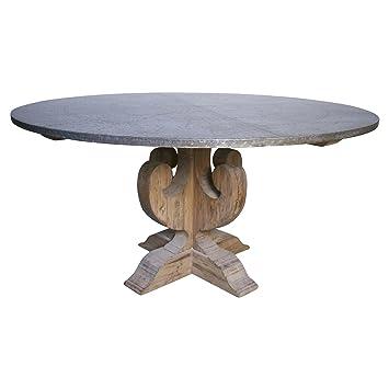 zinc top dining table durability set walker industrial loft wood base round restoration hardware