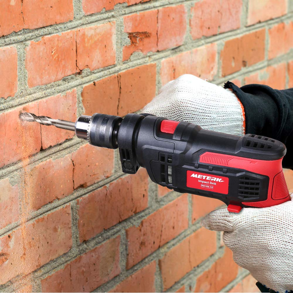 Meterk 7.0 Amp 1/2 Inch Corded Drill 850W, 3000RPM Dual Switch Between Electric Hammer Drill and Impact Drill, With Adjustable Speed for Drilling Wood, Steel, Concrete&Plastic DIY Drilling by Meterk (Image #9)