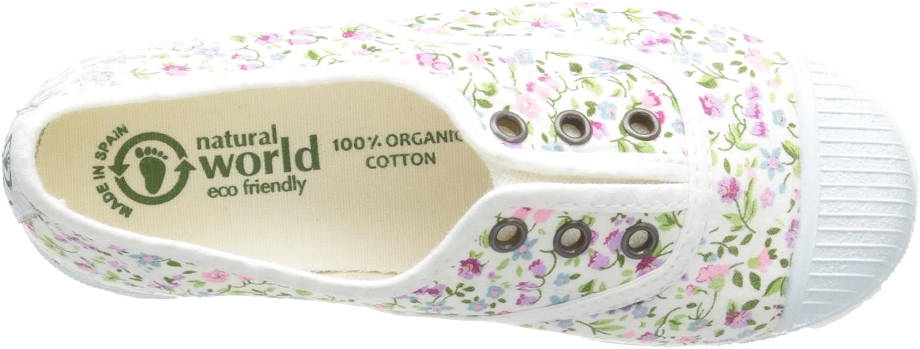 Natural World Chaussures en Coton avec Fleurs Fond de Caoutchouc 471505 Blanc