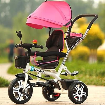 Multi-usage 4-en-1 Enfant Tricycle Version Sport Kid Trolley Poignée Poignée Stoller Vélo avec Auvent Anti-UV et Poignée Parent   pour 1-3-6 ans Garçon et Fille Bébé   Si&egrav