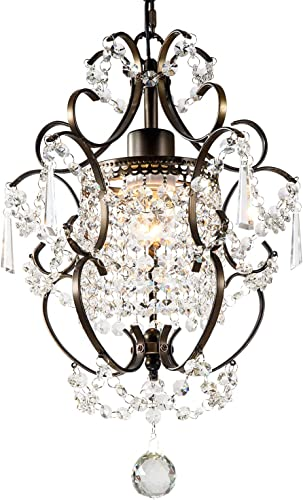 GNDS Modern Crystals Chandeliers,Small Chandelier Pendant Lighting,Ceiling Lights Fixtures for Living Room Bedroom Restaurant Dining Room,Bronze,1-Light
